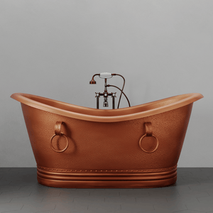 "66"" Arcadia Copper Double-Slipper Roll-Top Tub with Pedestal"