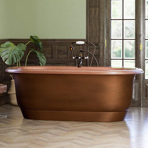"66"" Darden Antique Copper Double-Ended Roll-Top Tub with Pedestal"