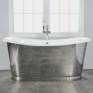 "66"" Florien Cast Iron Stainless Steel Skirted Bateau Tub"