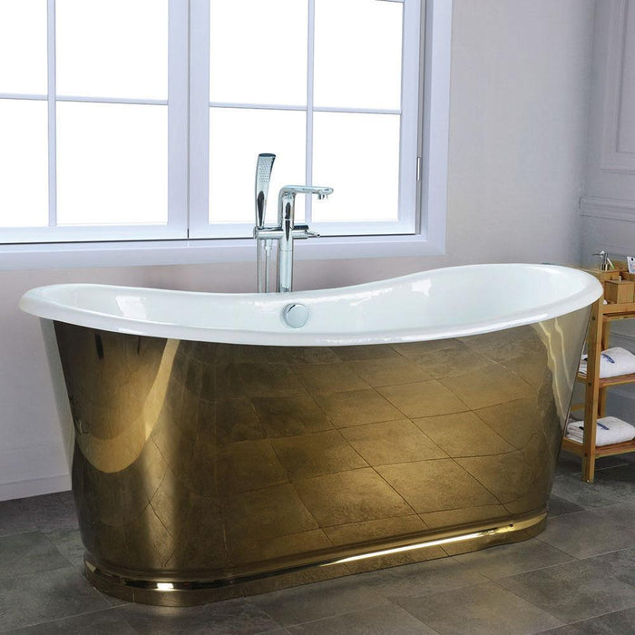 "66"" Gloster Cast Iron Stainless Steel Skirted Bateau Tub"
