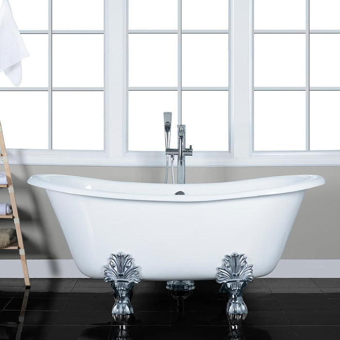 "66"" Liverpool Cast Iron Double-Slipper Clawfoot Tub"