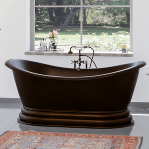 "66"" Lutts Copper Double-Slipper Roll-Top Tub with Pedestal"