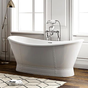 "66"" Mena Acrylic Double-Slipper Freestanding Tub with Integral Drain"