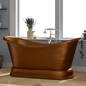 "66"" Visalia Copper Double-Slipper Roll-Top Tub with Pedestal"