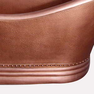 "66"" Vista Copper Double-Slipper Roll-Top Tub with Pedestal"