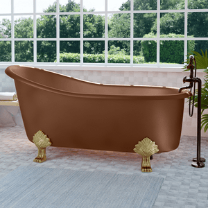 "67"" Allons Copper Slipper Clawfoot Tub - Lion Feet"