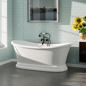 "67"" Cynthiana Acrylic Double-Slipper Tub with Pedestal and Integral Drain"
