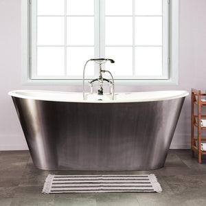 "67"" Dillard Cast Iron Stainless Steel Skirted Bateau Tub"