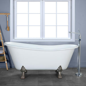 "67"" Eunice Cast Iron Slipper Clawfoot Tub - No Faucet Holes"