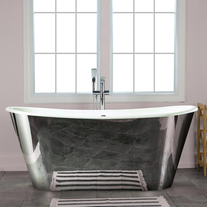 "67"" Forrester Cast Iron Stainless Steel Skirted Bateau Tub"