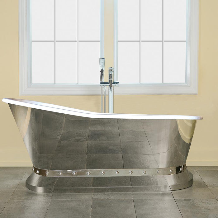 "67"" Kittrell Cast Iron Stainless Steel Skirted Slipper Tub with Pedestal"