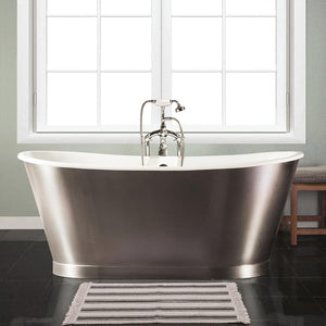 "67"" Oretta Cast Iron Stainless Steel Skirted Bateau Tub"