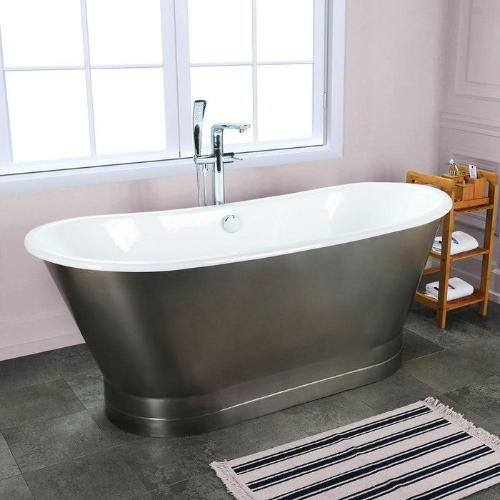 "67"" Prater Cast Iron Stainless Steel Skirted Bateau Tub"