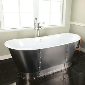 "67"" Ragley Cast Iron Stainless Steel Skirted Bateau Tub"