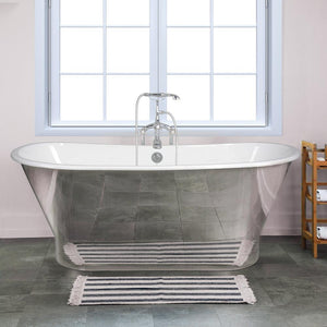 "67"" Reeves Cast Iron Stainless Steel Skirted Bateau Tub"