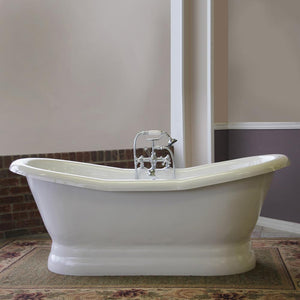 "68"" Empress Acrylic Double-Slipper Tub with Pedestal"