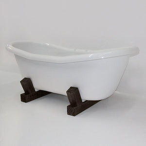 "68"" Farmstead Acrylic Double-Slipper Clawfoot Tub - Dark Wood Base"