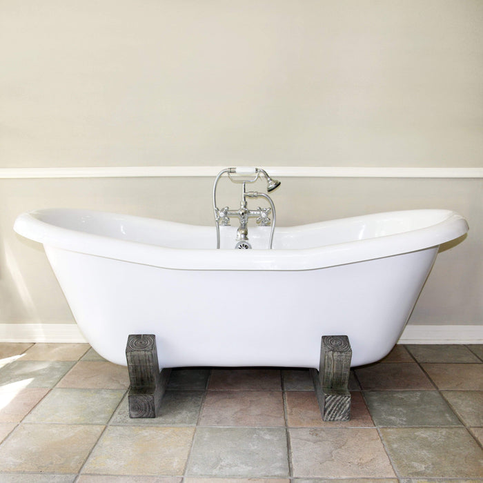 "68"" Farmstead Acrylic Double-Slipper Clawfoot Tub - Gray Wood Base"