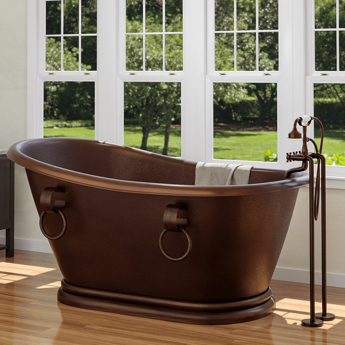 "68"" Leoma Copper Slipper Roll-Top Tub with Pedestal"