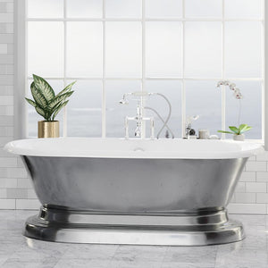 "68"" Luna Cast Iron Double-Ended Roll-Top Tub with Pedestal - Burnished Exterior Finish"