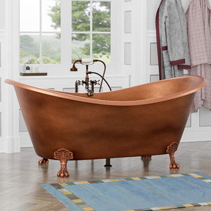 "68"" Melvine Antique Copper Clawfoot Double-Slipper Tub"