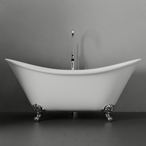 "68"" Moran Acrylic Double-Slipper Clawfoot Tub - Imperial Feet"