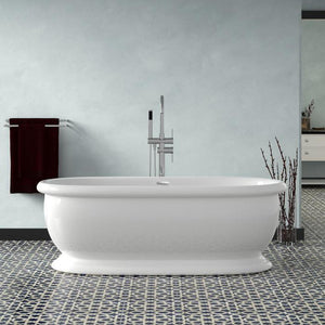 "69"" Goshen Acrylic Double-Ended Tub with Pedestal and Integral Drain"