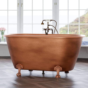"69"" Yokley Antique Copper Clawfoot Double Roll-Top Tub"
