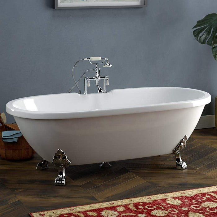"70"" Augusta Acrylic Double-Ended Clawfoot Tub - Lion Paw Feet"