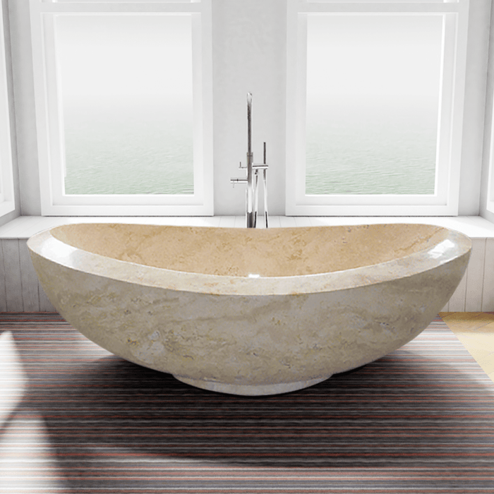 "71"" Kensington Stone Double-Slipper Tub with Pedestal"