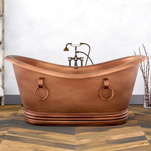 "72"" Arcadia Copper Double-Slipper Roll-Top Tub with Pedestal"