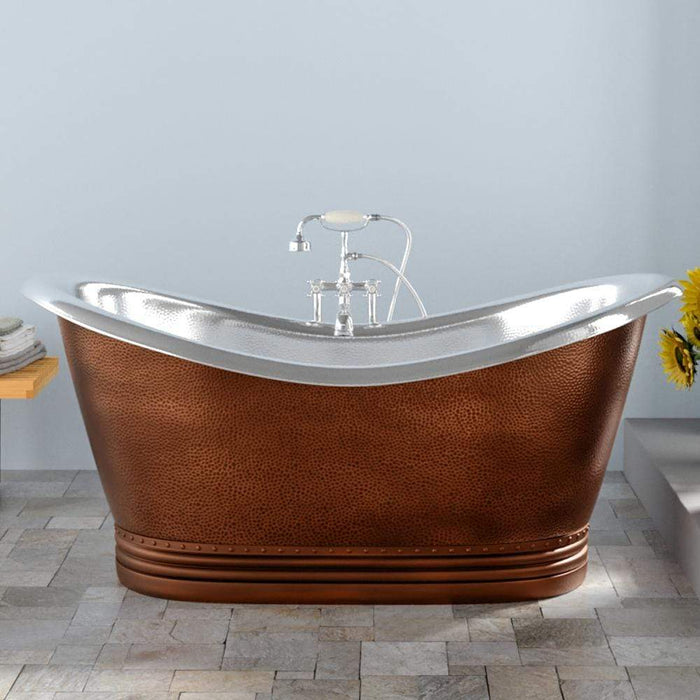 "72"" Findley Copper Double-Slipper Roll-Top Tub with Pedestal - Nickel Interior"