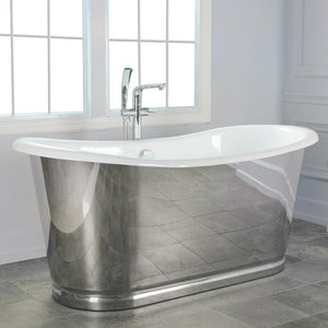 "72"" Florien Cast Iron Stainless Steel Skirted Bateau Tub"