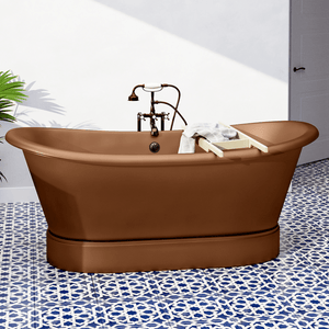 "72"" Gardena Copper Double-Slipper Roll-Top Tub with Pedestal"