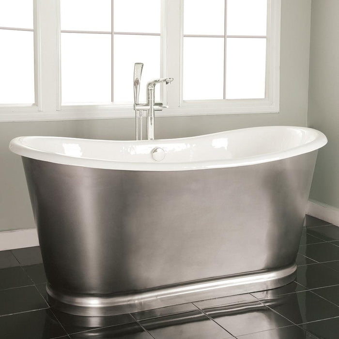 "72"" Glenmora Cast Iron Stainless Steel Skirted Bateau Tub"