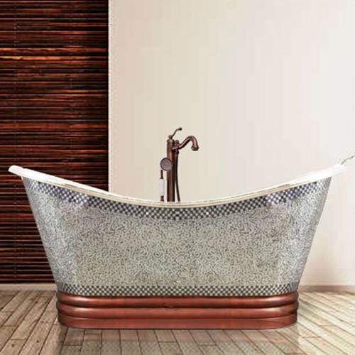 "72"" Pomona Copper Double-Slipper Mosaic Nickel-Plated Tub"