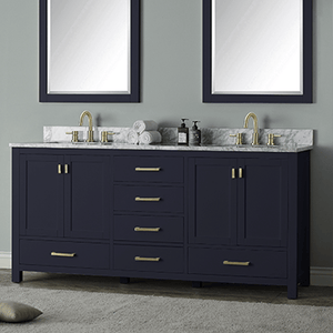 "72"" Romani Vanity Cabinet for Rectangular Undermount Sink - Navy Blue"