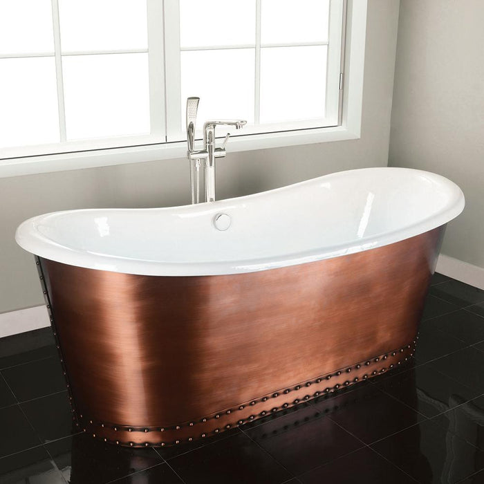 "72"" Sumrall Cast Iron Steel Skirted Bateau Tub"