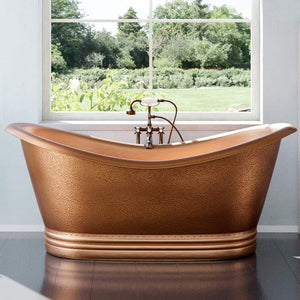 "72"" Vista Copper Double-Slipper Roll-Top Tub with Pedestal"