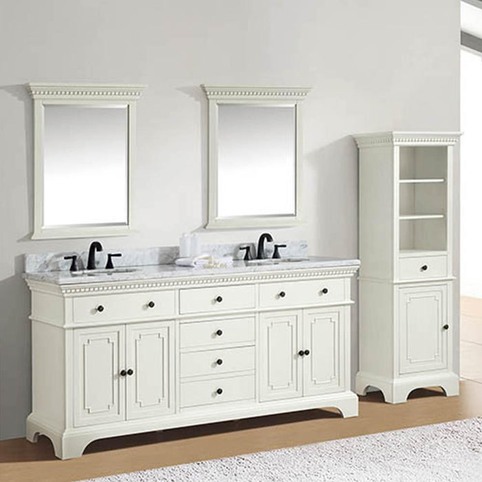 "73"" Kamela Double Vanity Cabinet with Carrara Marble Top and Oval Undermount Sinks"