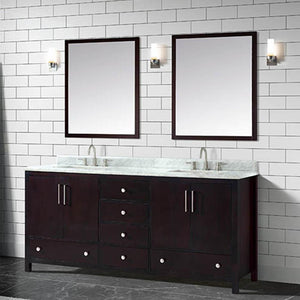 "73"" Malott Double Vanity Cabinet with Carrara Marble Top and Rectangular Undermount Sinks - Dark Espresso"