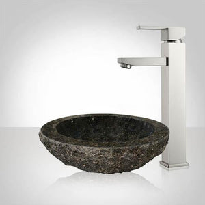 Adena Polished Uba Tuba Granite Vessel Sink - Chiseled Exterior
