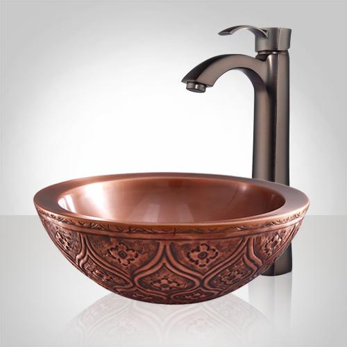 Albion Embossed Copper Vessel Sink
