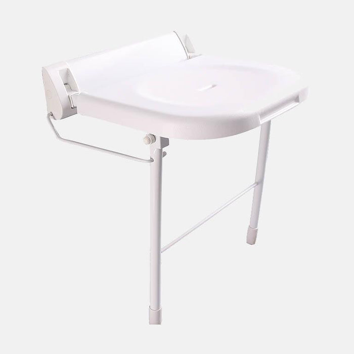 Alcova Wall-Mount White Folding Shower Seat with Legs - ADA Compliant