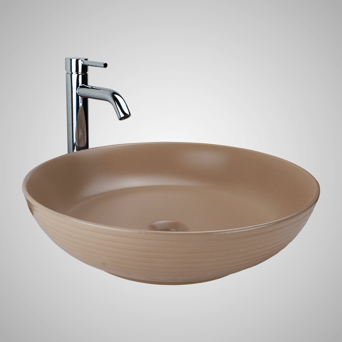 Almy Vitreous China Decorated Vessel Sink - Matte Tan