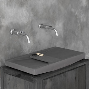Alsea Rectangular Cast Concrete Vessel Sink - Dark Grey