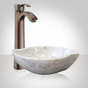 Arco Smooth Polished Carrara Marble Vessel Sink