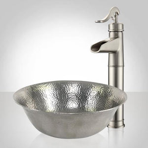 Avard Pewter-Plated Hammered Copper Vessel Sink