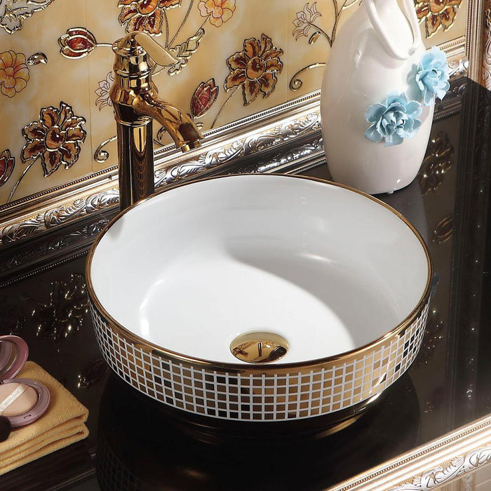 Benzien Vitreous China Decorated Vessel Sink - White Interior