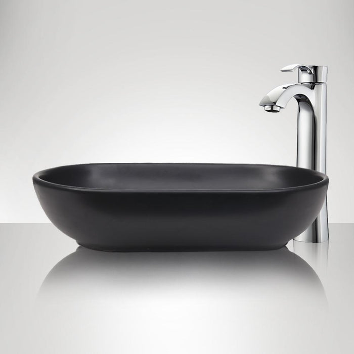 Branford Vitreous China Oval Vessel Sink - Matte Black